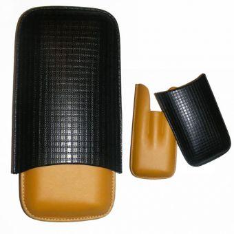 Zigarren-Etui Rindsleder 3 DC gelb schwarz