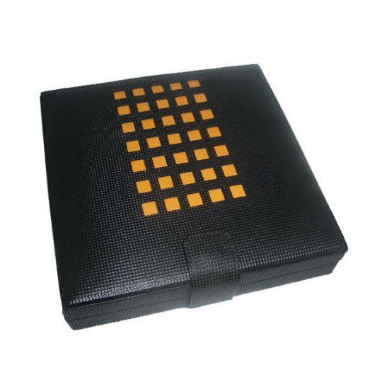 Reisehumidor 15 / Etui mit Lederbezug schwarz gelb