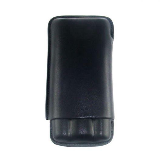 Zigarren-Etui Rindsleder 3 DC schwarz Double Layer