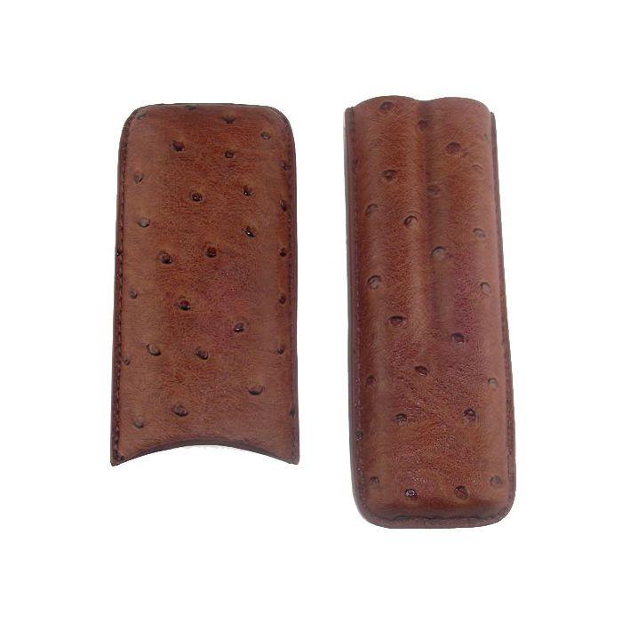 Zigarren-Etui Schafsleder mit Straussenprägung 2 DC