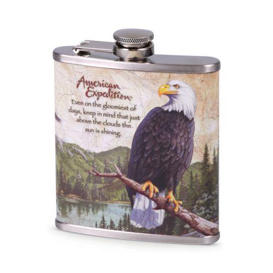 Flachmann Chrom bedruckt Adler - Indianisches Sprichwort