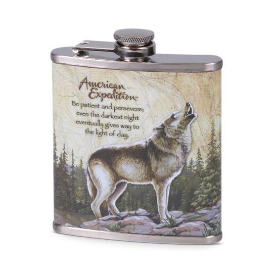 Flachmann Chrom bedruckt Wolf - Indianisches Sprichwort